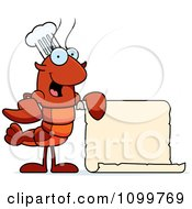 Chef Lobster Or Crawdad Mascot Character Holding A Blank Scroll