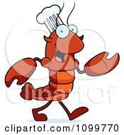 Walking Chef Lobster Or Crawdad Mascot Character