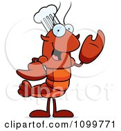 Waving Chef Lobster Or Crawdad Mascot Character