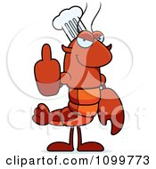 Chef Lobster Or Crawdad Mascot Character Holding Up A Middle Finger