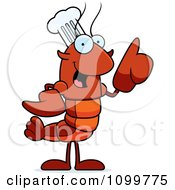 Chef Lobster Or Crawdad Mascot Character With An Idea