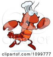 Running Chef Lobster Or Crawdad Mascot Character