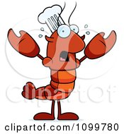 Scared Chef Lobster Or Crawdad Mascot Character