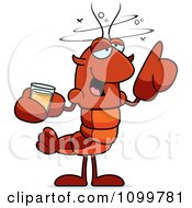 Clipart Drunk Lobster Or Crawdad Mascot Character Royalty Free Vector Illustration