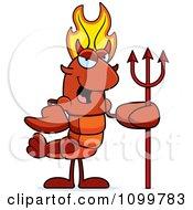 Devil Lobster Or Crawdad Mascot Character