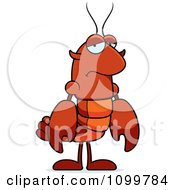 Depressed Lobster Or Crawdad Mascot Character