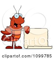 Clipart Lobster Or Crawdad Mascot Character Holding A Sign Royalty Free Vector Illustration