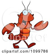 Walking Lobster Or Crawdad Mascot Character
