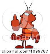 Lobster Or Crawdad Mascot Character Holding Up A Middle Finger