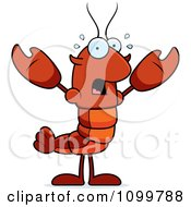 Scared Lobster Or Crawdad Mascot Character