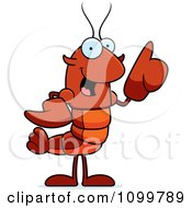 Lobster Or Crawdad Mascot Character With An Idea
