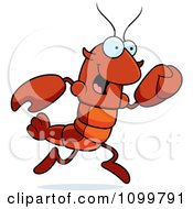 Clipart Running Lobster Or Crawdad Mascot Character Royalty Free Vector Illustration