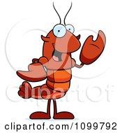 Waving Lobster Or Crawdad Mascot Character