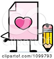 Clipart Love Document Mascot Holding A Pencil Royalty Free Vector Illustration by Cory Thoman