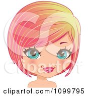 Clipart Pretty Blue Eyed Woman With A Pink Bob Cut Hair And Yellow Streaks Royalty Free Vector Illustration