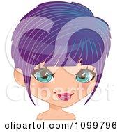 Pretty Blue Eyed Woman With A Purple Bob Cut Hair And Blue Streaks