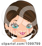 Pretty Blue Eyed Woman With A Brunette Bob Cut Hair And Streaks