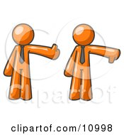 Expressive Orange Business Man Giving The Thumbs Up Then The Thumbs Down Clipart Illustration