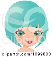 Clipart Pretty Blue Eyed Woman With A Turquoise Bob Hair Cut Or Wig Royalty Free Vector Illustration