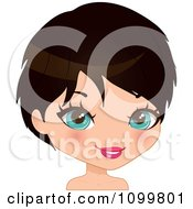 Clipart Pretty Blue Eyed Black Haired Woman With A Bob Cut Royalty Free Vector Illustration by Melisende Vector