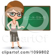 Friendly Brunette Female Math Teacher With Glasses Presenting A Chalkboard