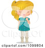 Clipart Happy Blond Girl In A Turquoise Dress Holding A Thumb Up Royalty Free Vector Illustration by Melisende Vector