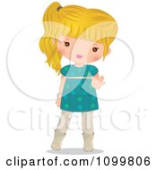 Clipart Happy Blond Girl In A Turquoise Dress Waving Royalty Free Vector Illustration by Melisende Vector