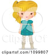 Clipart Blond Girl In A Turquoise Dress Royalty Free Vector Illustration