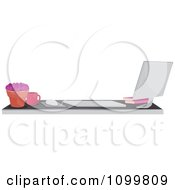 Clipart Mac Desktop Computer And Desk Office Border Or Website Banner Royalty Free Vector Illustration
