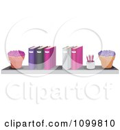 Clipart Potted Plants A Pencil Cup And Office Binders On A Shelf Royalty Free Vector Illustration by Melisende Vector