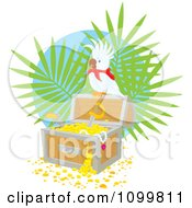 Clipart Cockatoo Perched On A Treasure Chest Full Of Gold Royalty Free Vector Illustration