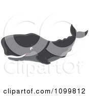 Clipart Happy Sperm Whale Swimming And Smiling Royalty Free Vector Illustration by Alex Bannykh