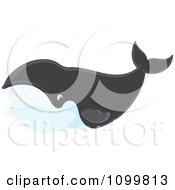 Clipart Happy Right Whale Swimming And Smiling Royalty Free Vector Illustration by Alex Bannykh