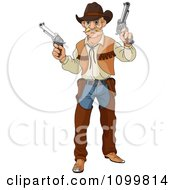 Clipart Blond Wild Western Cowboy Vigilante Holding Two Guns Royalty Free Vector Illustration