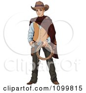 Clipart Handsome Wild Western Cowboy Holding Rope And Ready To Draw His Gun Royalty Free Vector Illustration by Pushkin
