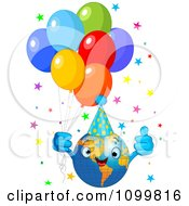 Clipart Happy Globe With A Party Hat Balloons And Stars Celebrating Earth Day Royalty Free Vector Illustration