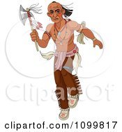 Native American Man Stalking With A Tomahawk Axe