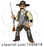 Clipart Wild Western Sheriff Holding A Rifle Royalty Free Vector Illustration