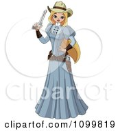 Clipart Blond Wild Western Woman In A Blue Dress Holding A Revolver Royalty Free Vector Illustration