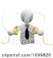 3d White Businessman Prepared To Connect Electrical Power Cables