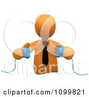 Clipart 3d Orange Businessman Prepared To Connect Electrical Power Cables Royalty Free CGI Illustration