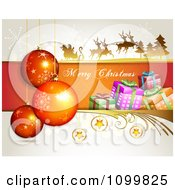 Clipart Merry Christmas Greeting With Santa Flying His Sleigh Babubles Stars And Gift Boxes Royalty Free Vector Illustration by merlinul