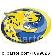 Clipart Yellow And Blue Hissing Jaguar Over An Oval Royalty Free Vector Illustration