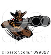 Clipart Western Cowboy Mascot Aiming A Double Barrel Rifle Royalty Free Vector Illustration