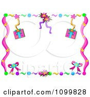 Clipart Birthday Party Gift Streamer And Confetti Frame Royalty Free Vector Illustration by bpearth