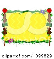 Shish Kebob Frrame And Tropical Plants Around Yellow Zig Zags