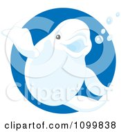 Cute Beluga Whale Waving And Smiling Over A Blue Circle