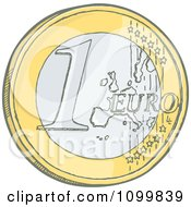 Sketched 1 Euro Coin