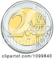 Clipart Sketched 2 Euro Coin Royalty Free Vector Illustration by Any Vector
