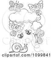 Clipart Outlined Birds Clouds Bees Snails And Butterflies Royalty Free Vector Illustration by Any Vector
